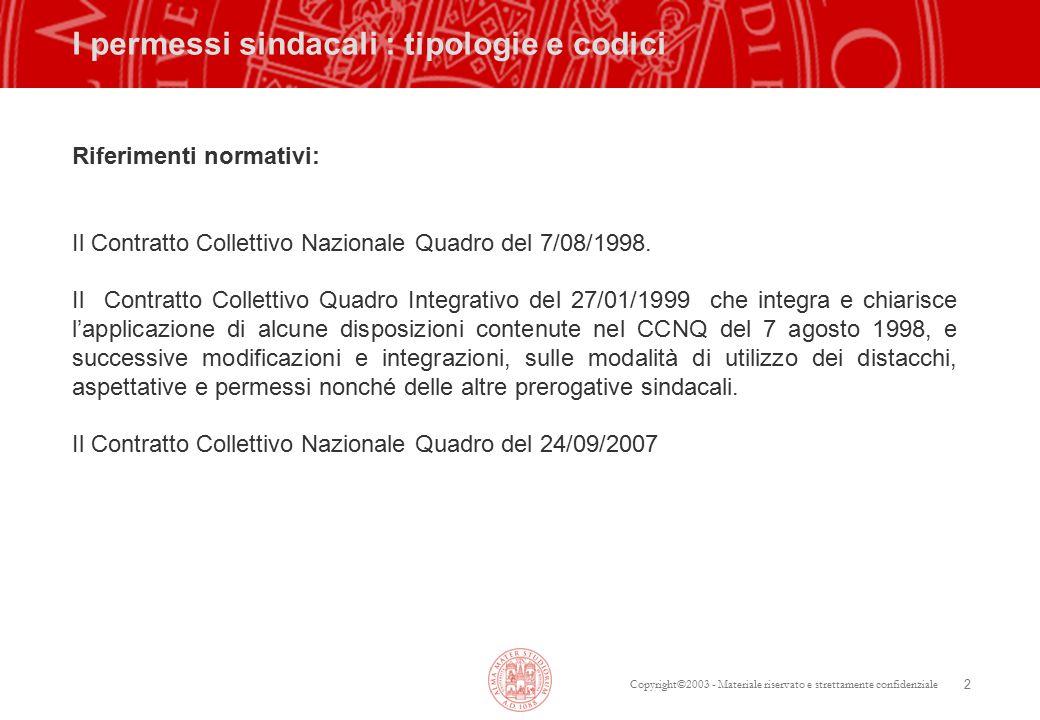 Copyright©2003 - Materiale riservato e strettamente confidenziale 2 I permessi sindacali : tipologie e codici Riferimenti normativi: Il Contratto Collettivo Nazionale Quadro del 7/08/1998.
