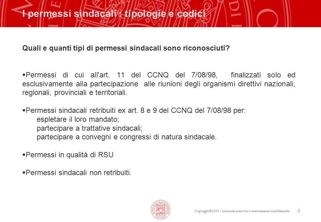Copyright©2003 - Materiale riservato e strettamente confidenziale 3 I permessi sindacali : tipologie e codici Quali e quanti tipi di permessi sindacali sono riconosciuti.