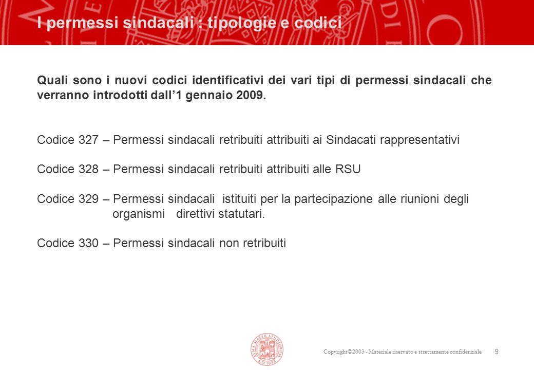 Copyright©2003 - Materiale riservato e strettamente confidenziale 9 I permessi sindacali : tipologie e codici Quali sono i nuovi codici identificativi dei vari tipi di permessi sindacali che verranno introdotti dall'1 gennaio 2009.