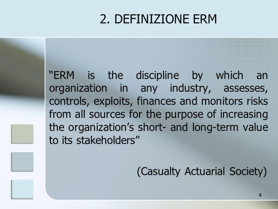 3.ALCUNI ELEMENTI CHIAVE ERM è un processo che comprende: 1.