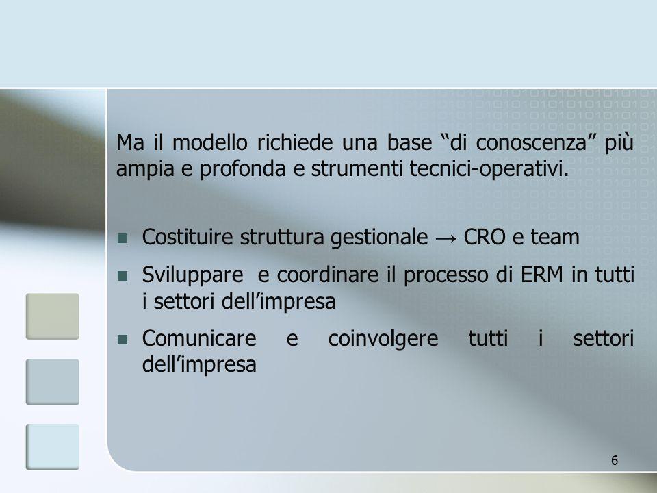 """Ma il modello richiede una base """"di conoscenza"""" più ampia e profonda e strumenti tecnici-operativi. Costituire struttura gestionale → CRO e team Svilu"""