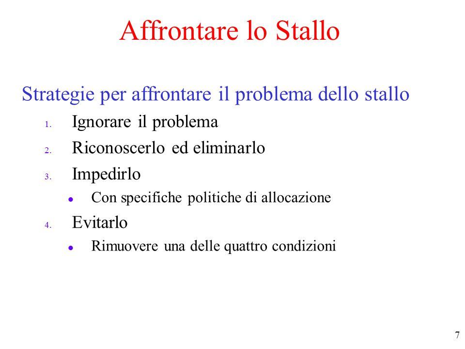 7 Affrontare lo Stallo Strategie per affrontare il problema dello stallo 1.