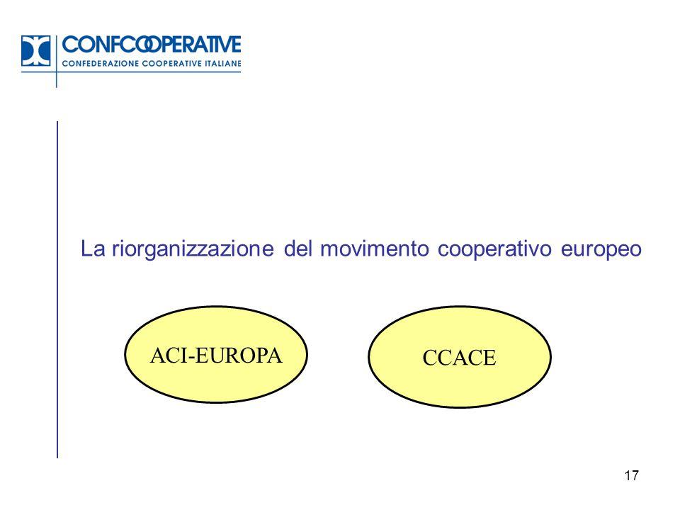 17 La riorganizzazione del movimento cooperativo europeo ACI-EUROPA CCACE