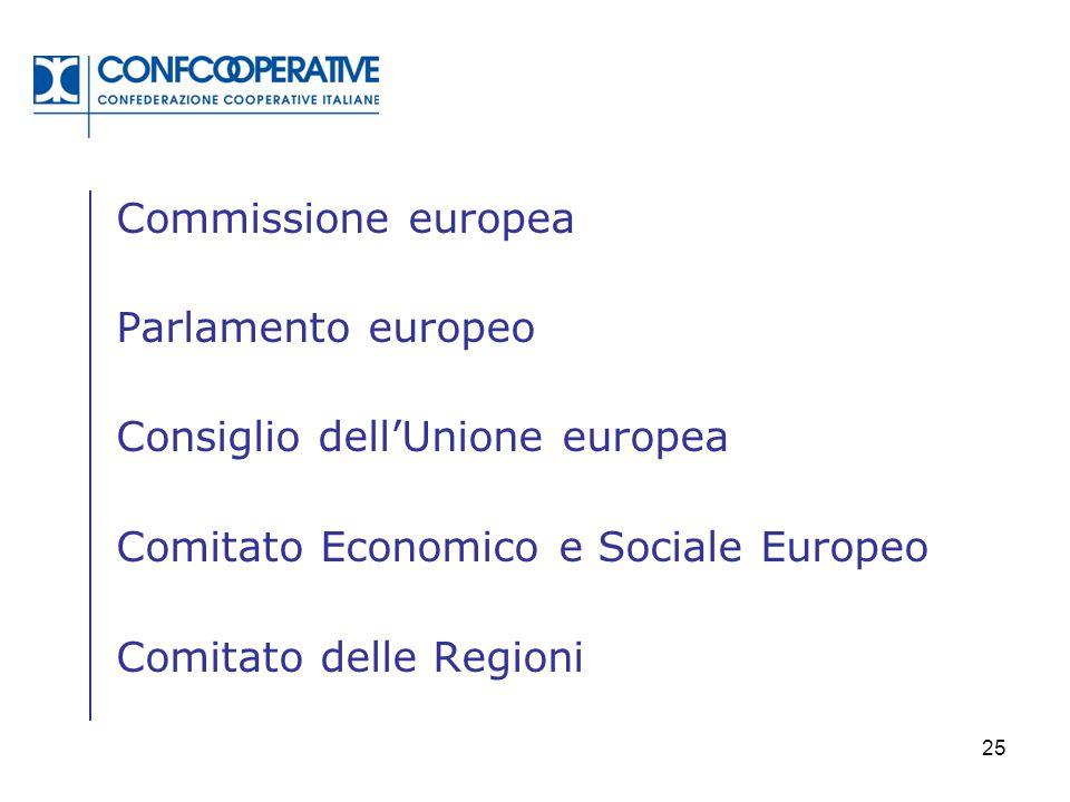 25 Commissione europea Parlamento europeo Consiglio dell'Unione europea Comitato Economico e Sociale Europeo Comitato delle Regioni