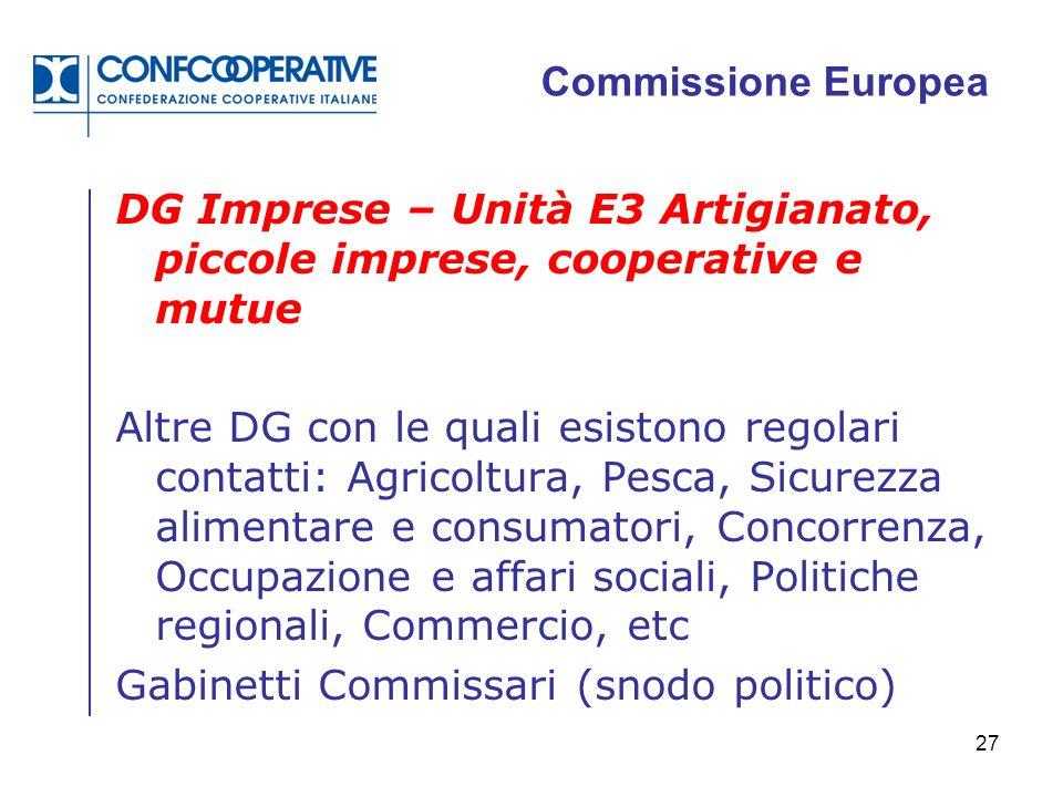 27 Commissione Europea DG Imprese – Unità E3 Artigianato, piccole imprese, cooperative e mutue Altre DG con le quali esistono regolari contatti: Agric