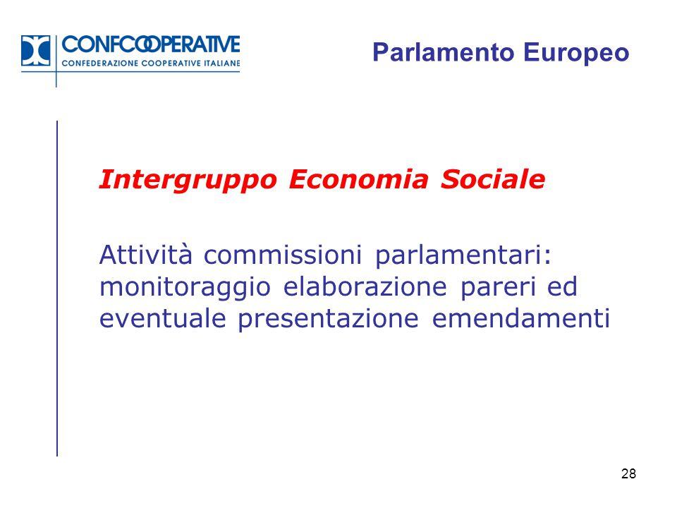 28 Parlamento Europeo Intergruppo Economia Sociale Attività commissioni parlamentari: monitoraggio elaborazione pareri ed eventuale presentazione emen
