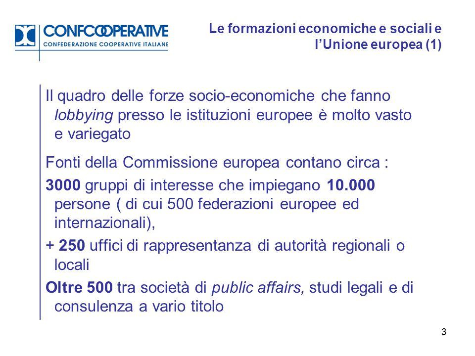4 Le formazioni economiche e sociali e l'Unione europea (2) Alcune organizzazioni di rappresentanza sono portatrici di interessi generali con il tentativo di proporre una loro visione d'Europa.
