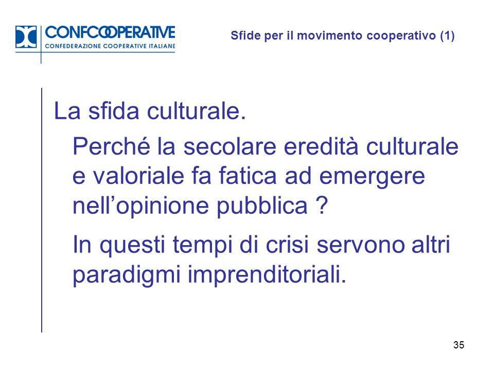 35 Sfide per il movimento cooperativo (1) La sfida culturale. Perché la secolare eredità culturale e valoriale fa fatica ad emergere nell'opinione pub