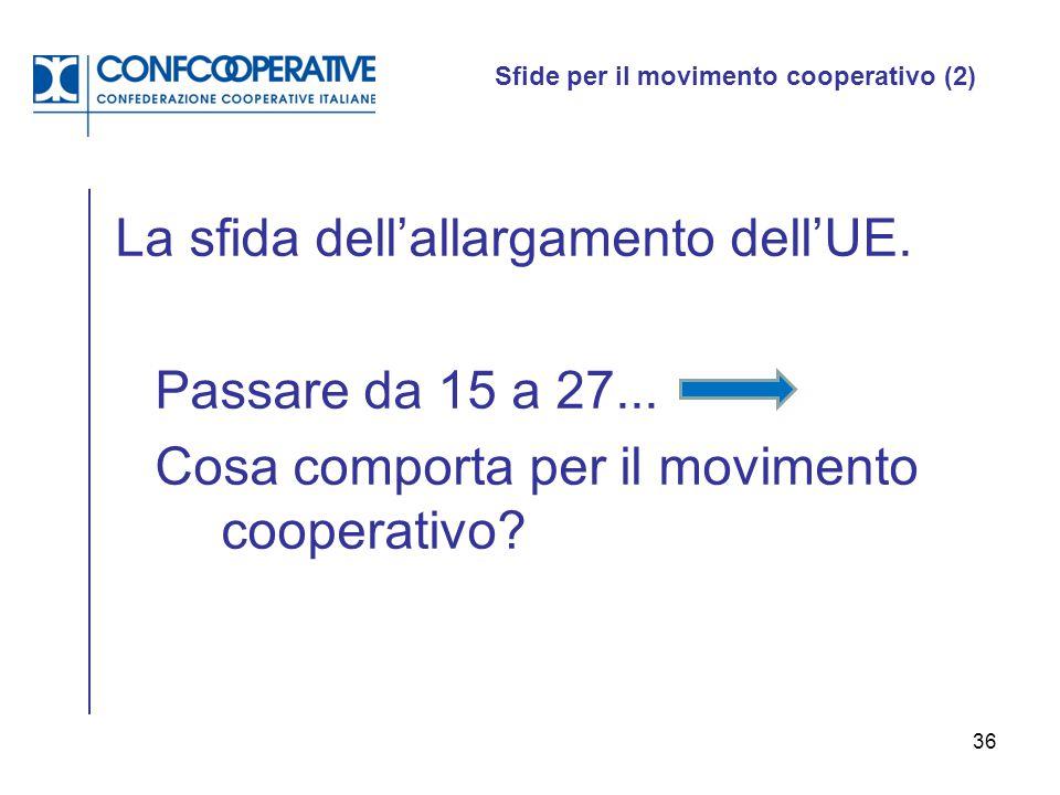 36 Sfide per il movimento cooperativo (2) La sfida dell'allargamento dell'UE. Passare da 15 a 27... Cosa comporta per il movimento cooperativo?