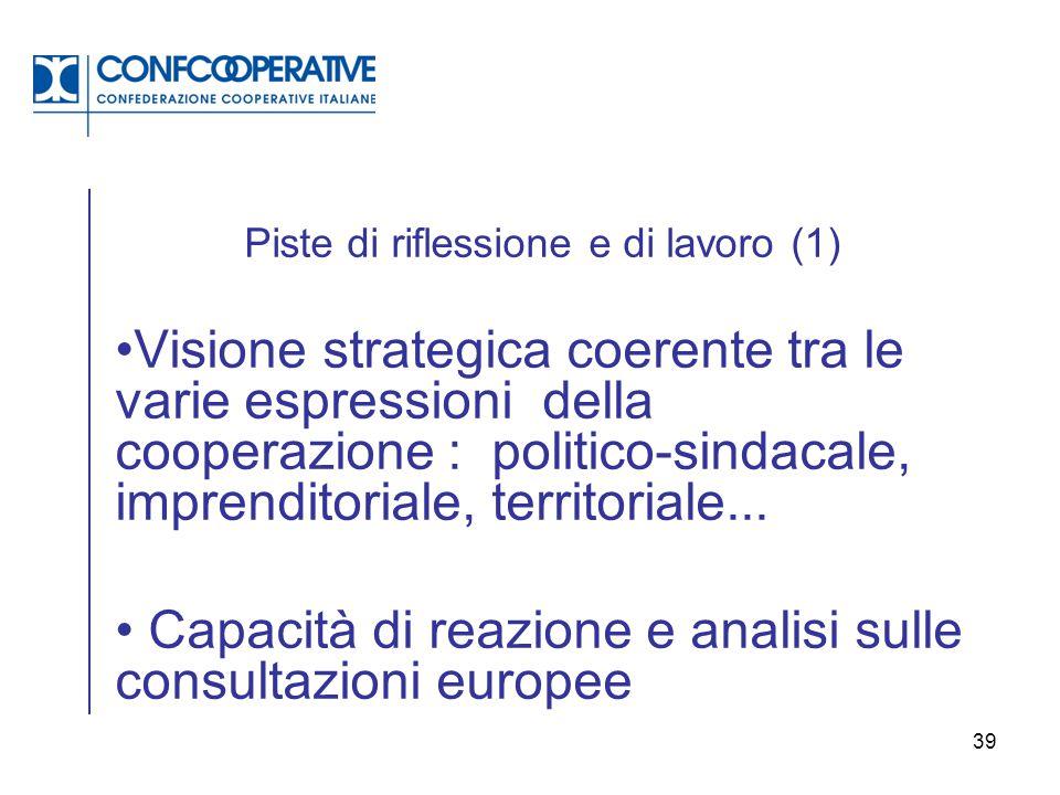 39 Piste di riflessione e di lavoro (1) Visione strategica coerente tra le varie espressioni della cooperazione : politico-sindacale, imprenditoriale,