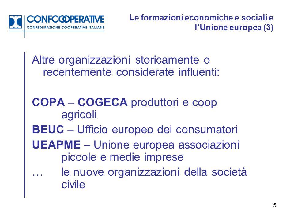 5 Le formazioni economiche e sociali e l'Unione europea (3) Altre organizzazioni storicamente o recentemente considerate influenti: COPA – COGECA prod