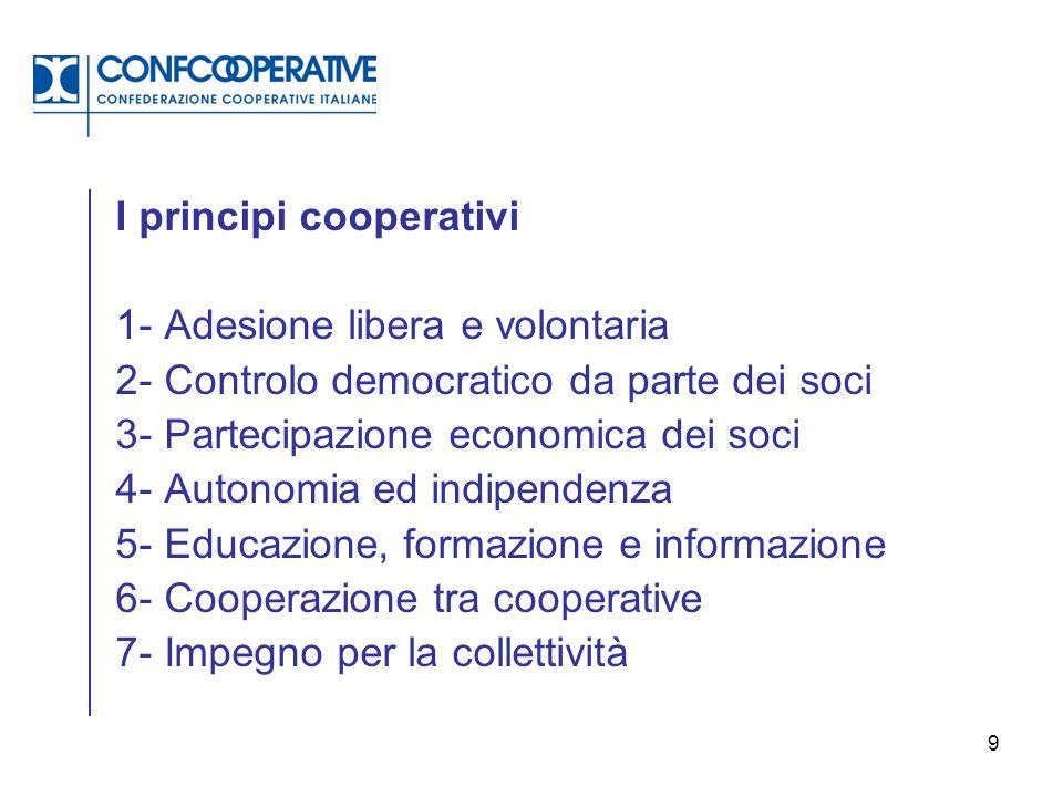 9 1- Adesione libera e volontaria 2- Controlo democratico da parte dei soci 3- Partecipazione economica dei soci 4- Autonomia ed indipendenza 5- Educa