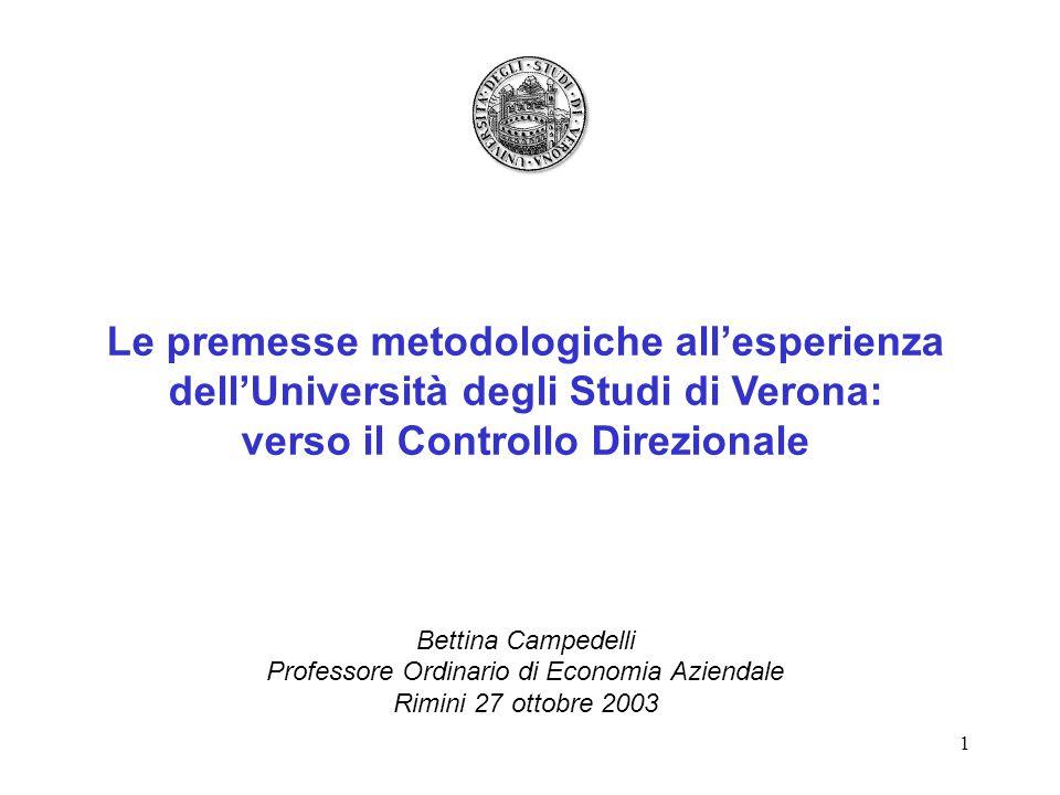 1 Le premesse metodologiche all'esperienza dell'Università degli Studi di Verona: verso il Controllo Direzionale Bettina Campedelli Professore Ordinario di Economia Aziendale Rimini 27 ottobre 2003