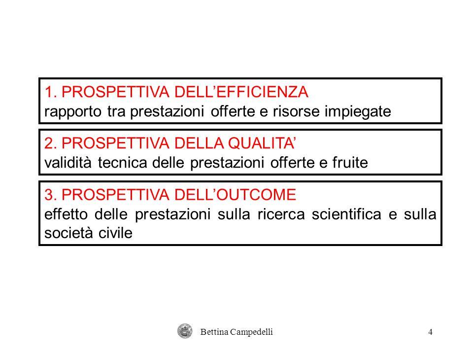 Bettina Campedelli4 1. PROSPETTIVA DELL'EFFICIENZA rapporto tra prestazioni offerte e risorse impiegate 2. PROSPETTIVA DELLA QUALITA' validità tecnica