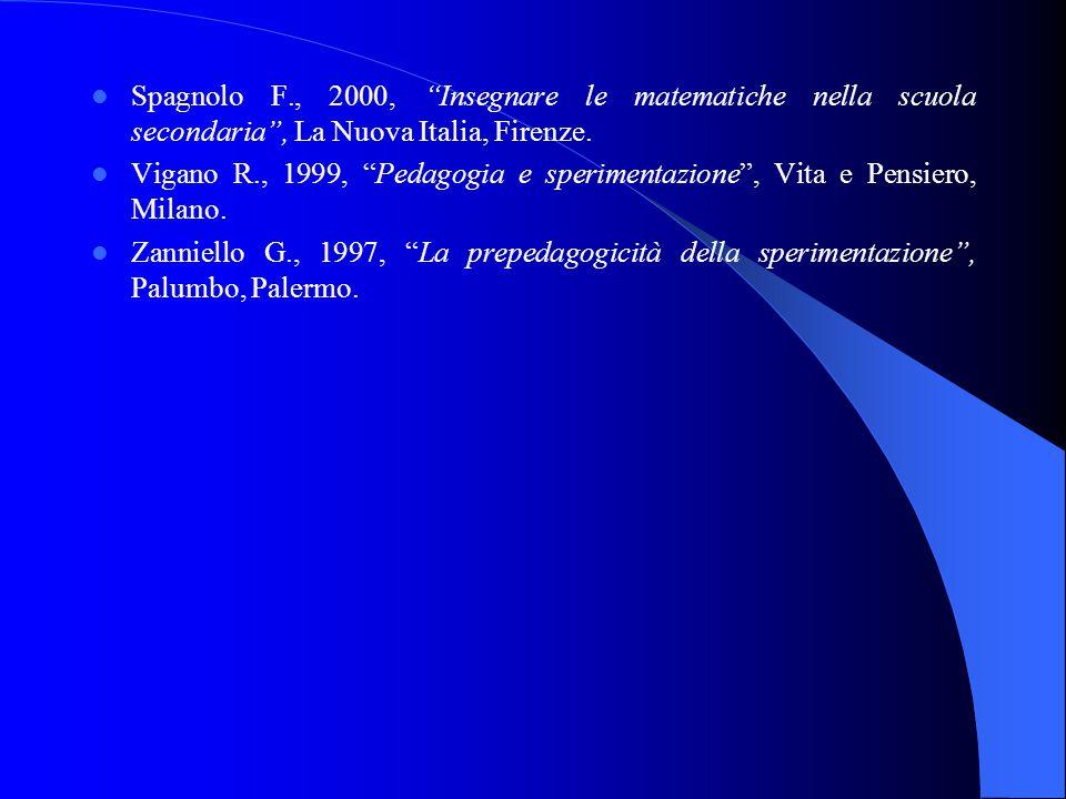 Spagnolo F., 2000, Insegnare le matematiche nella scuola secondaria , La Nuova Italia, Firenze.