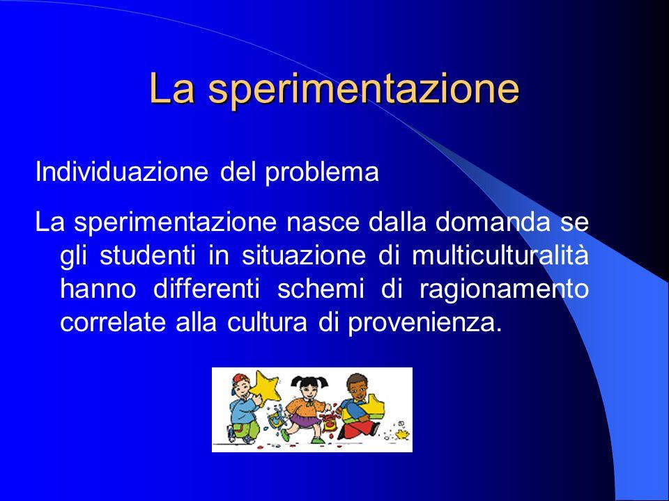 La sperimentazione Individuazione del problema La sperimentazione nasce dalla domanda se gli studenti in situazione di multiculturalità hanno differenti schemi di ragionamento correlate alla cultura di provenienza.