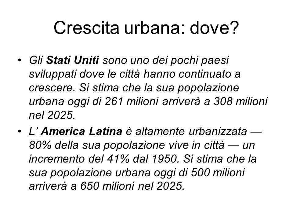 Crescita urbana: dove? Gli Stati Uniti sono uno dei pochi paesi sviluppati dove le città hanno continuato a crescere. Si stima che la sua popolazione