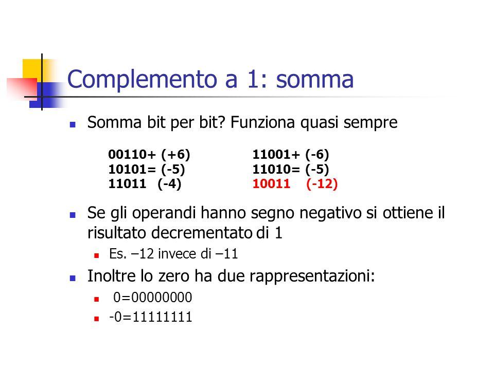 Complemento a 1: somma Somma bit per bit? Funziona quasi sempre Se gli operandi hanno segno negativo si ottiene il risultato decrementato di 1 Es. –12