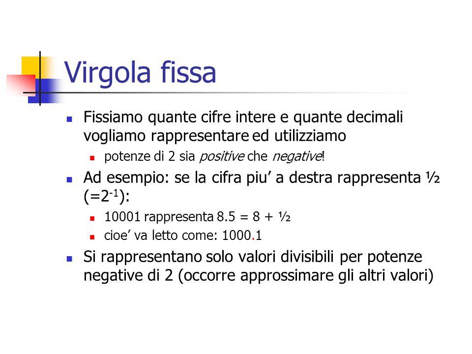 Virgola fissa Fissiamo quante cifre intere e quante decimali vogliamo rappresentare ed utilizziamo potenze di 2 sia positive che negative! Ad esempio: