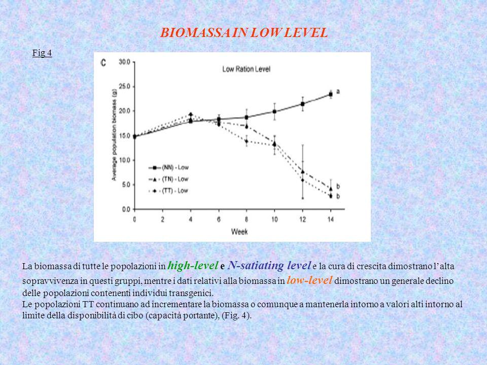 La biomassa di tutte le popolazioni in high-level e N-satiating level e la cura di crescita dimostrano l'alta sopravvivenza in questi gruppi, mentre i dati relativi alla biomassa in low-level dimostrano un generale declino delle popolazioni contenenti individui transgenici.