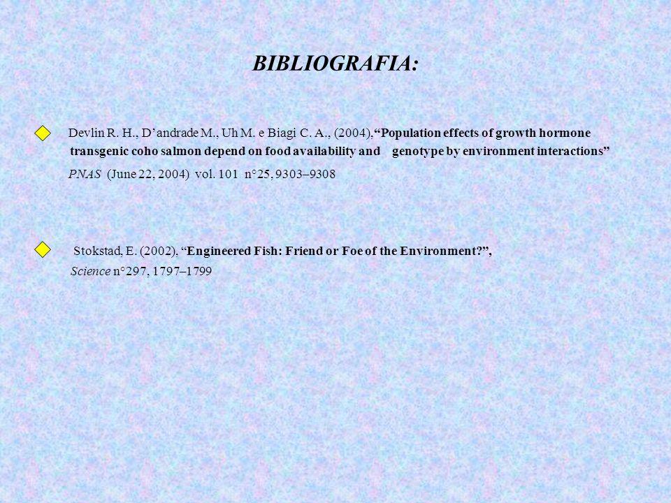 "BIBLIOGRAFIA: Devlin R. H., D'andrade M., Uh M. e Biagi C. A., (2004),""Population effects of growth hormone transgenic coho salmon depend on food avai"