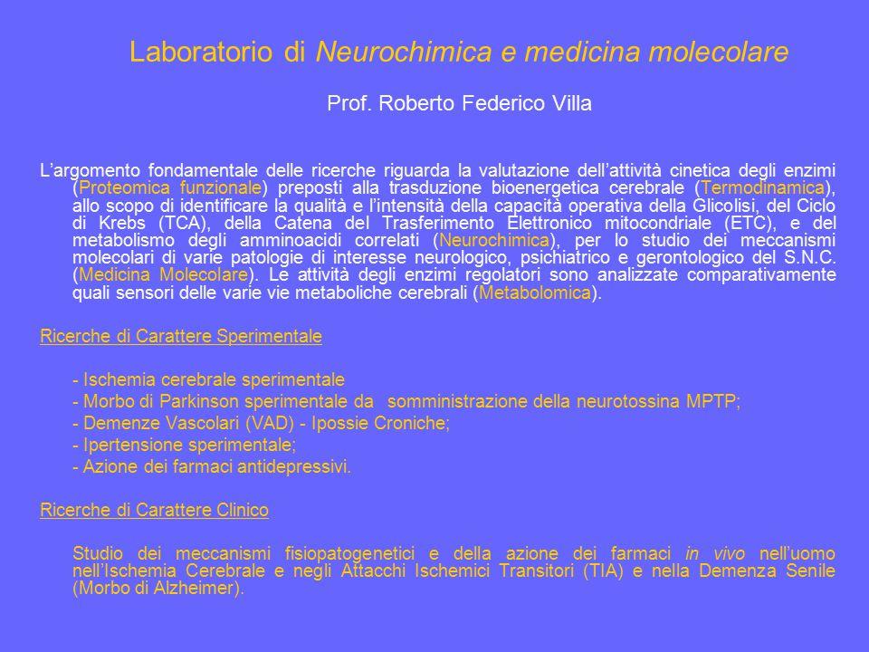 Laboratorio di Neurochimica e medicina molecolare Prof. Roberto Federico Villa L'argomento fondamentale delle ricerche riguarda la valutazione dell'at