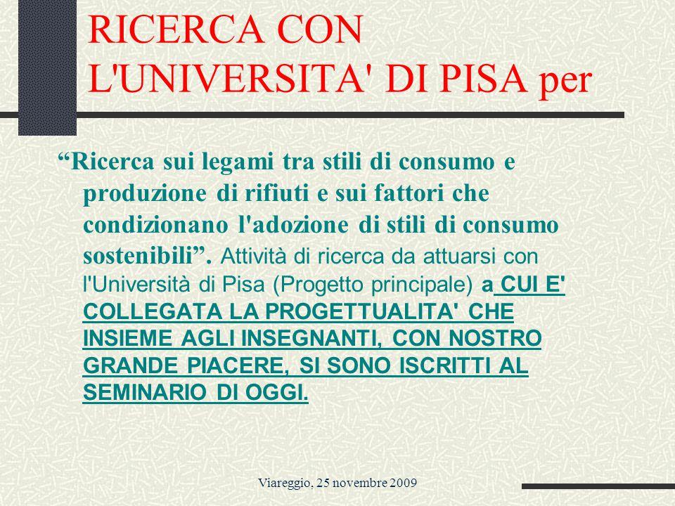 Viareggio, 25 novembre 2009 RICERCA CON L UNIVERSITA DI PISA per Ricerca sui legami tra stili di consumo e produzione di rifiuti e sui fattori che condizionano l adozione di stili di consumo sostenibili .