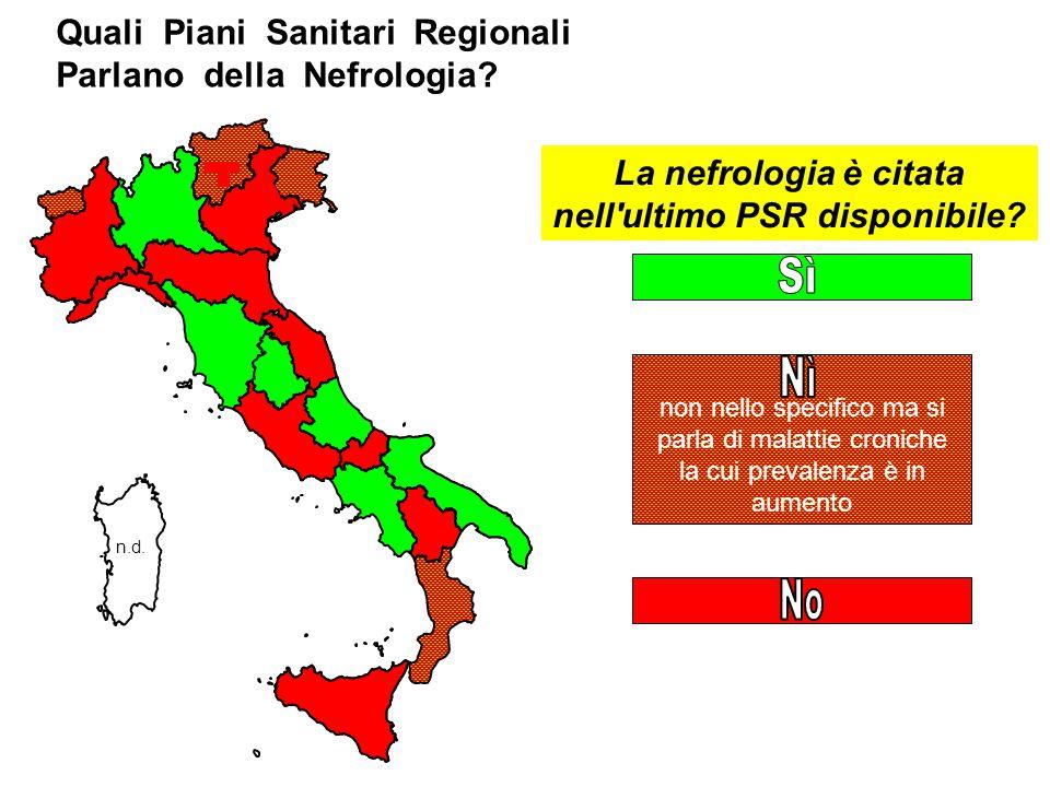 Quali Piani Sanitari Regionali Parlano della Nefrologia.