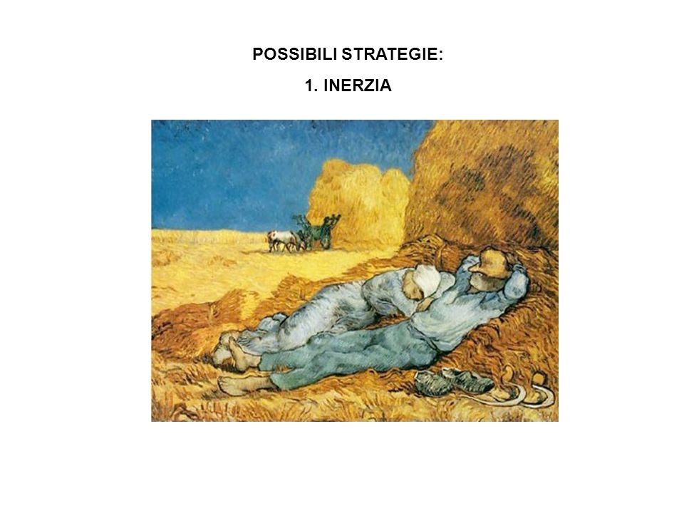 POSSIBILI STRATEGIE: 1. INERZIA