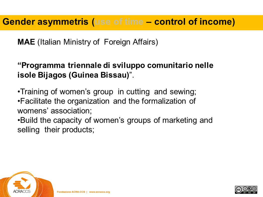 - the use of food resources sw to Gender asymmetris (use of time – control of income)