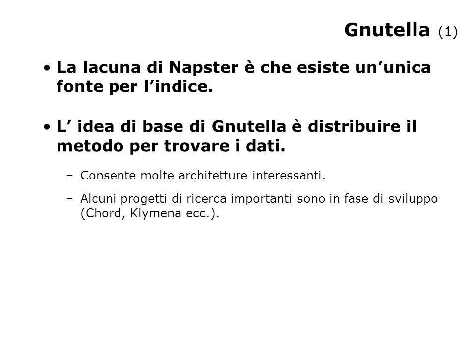 Gnutella (1) La lacuna di Napster è che esiste un'unica fonte per l'indice.