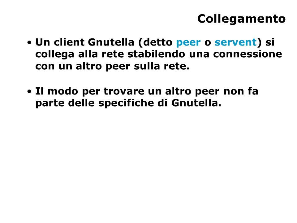 Collegamento Un client Gnutella (detto peer o servent) si collega alla rete stabilendo una connessione con un altro peer sulla rete.