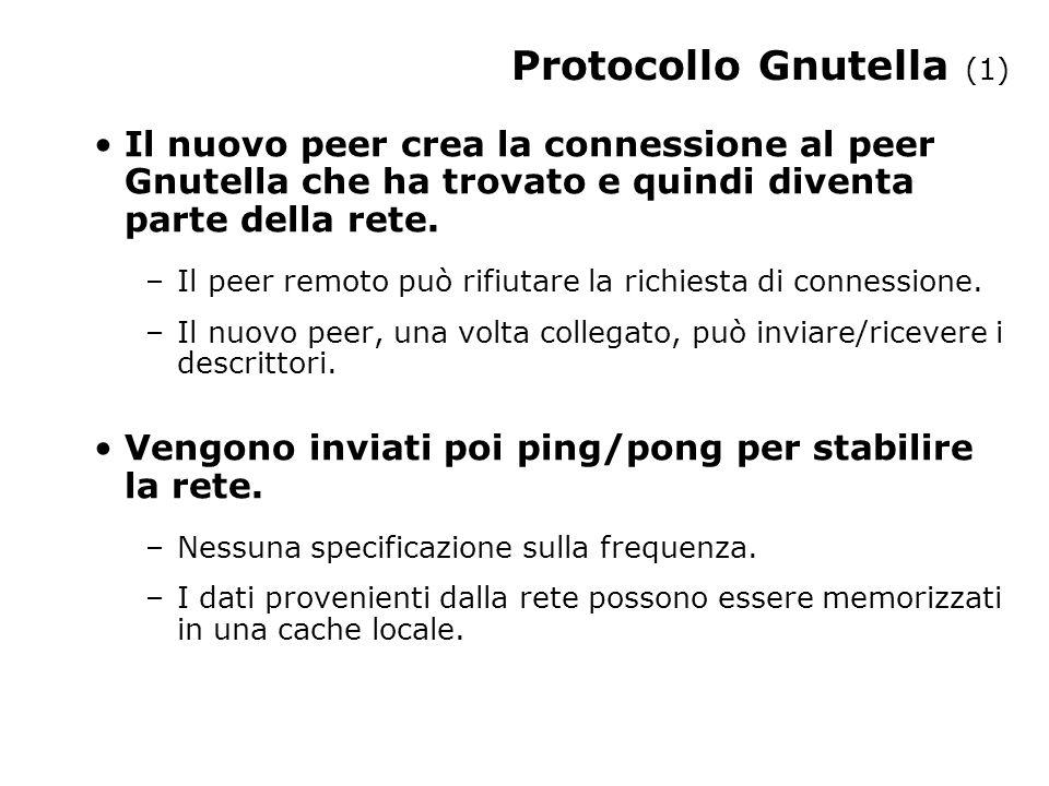 Protocollo Gnutella (1) Il nuovo peer crea la connessione al peer Gnutella che ha trovato e quindi diventa parte della rete.