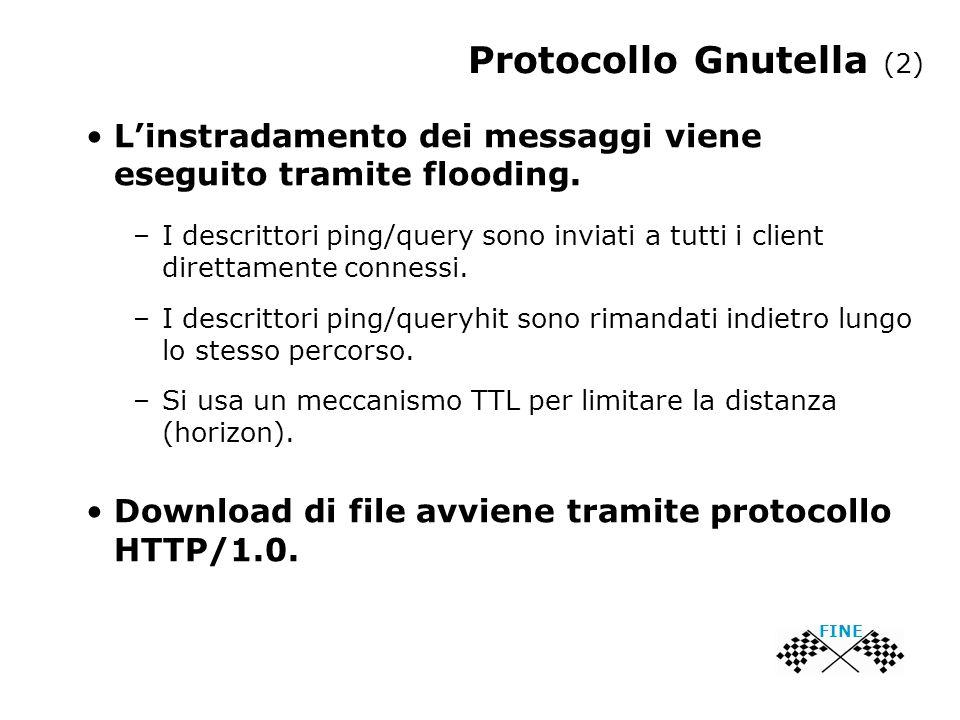 Protocollo Gnutella (2) FINE L'instradamento dei messaggi viene eseguito tramite flooding.
