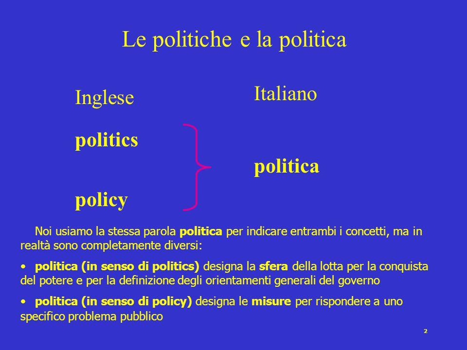 2 Le politiche e la politica Inglese politics policy Italiano politica Noi usiamo la stessa parola politica per indicare entrambi i concetti, ma in re
