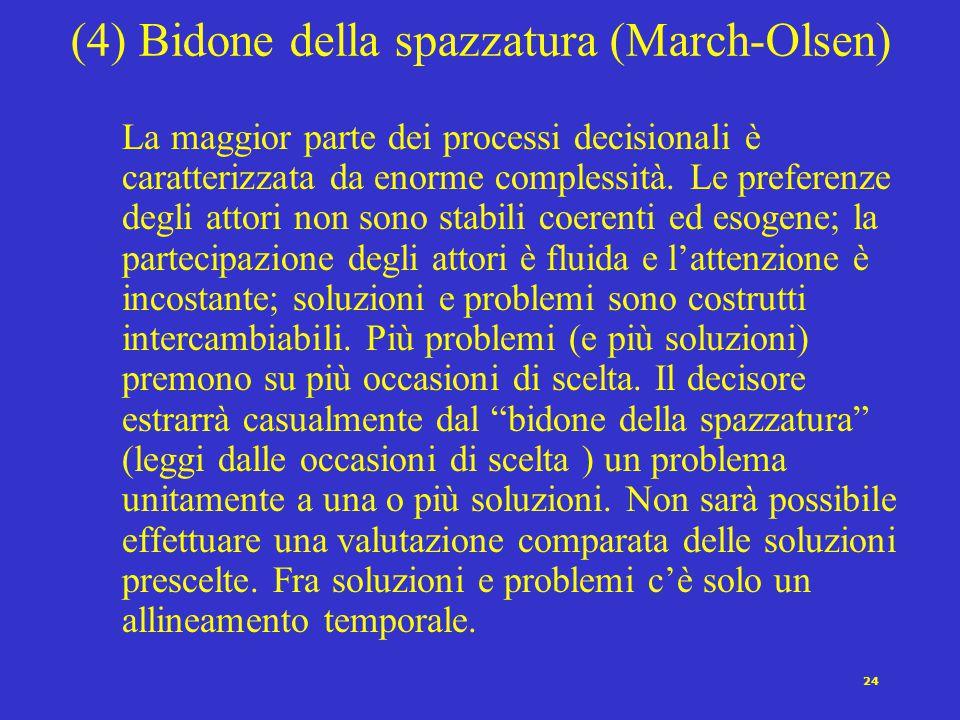 24 (4) Bidone della spazzatura (March-Olsen) La maggior parte dei processi decisionali è caratterizzata da enorme complessità. Le preferenze degli att
