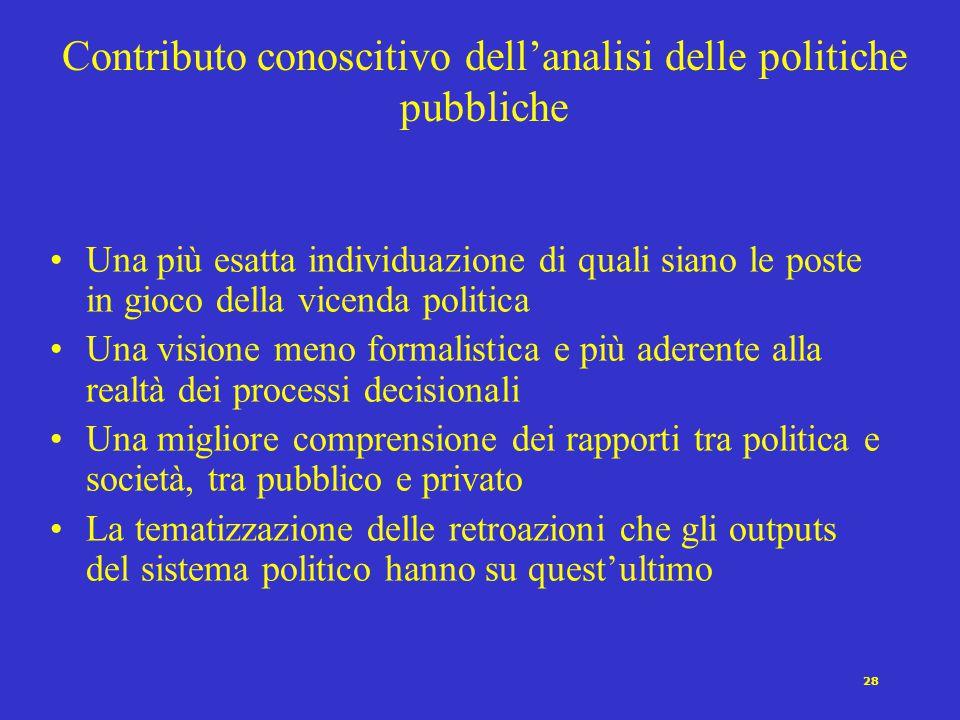 28 Contributo conoscitivo dell'analisi delle politiche pubbliche Una più esatta individuazione di quali siano le poste in gioco della vicenda politica