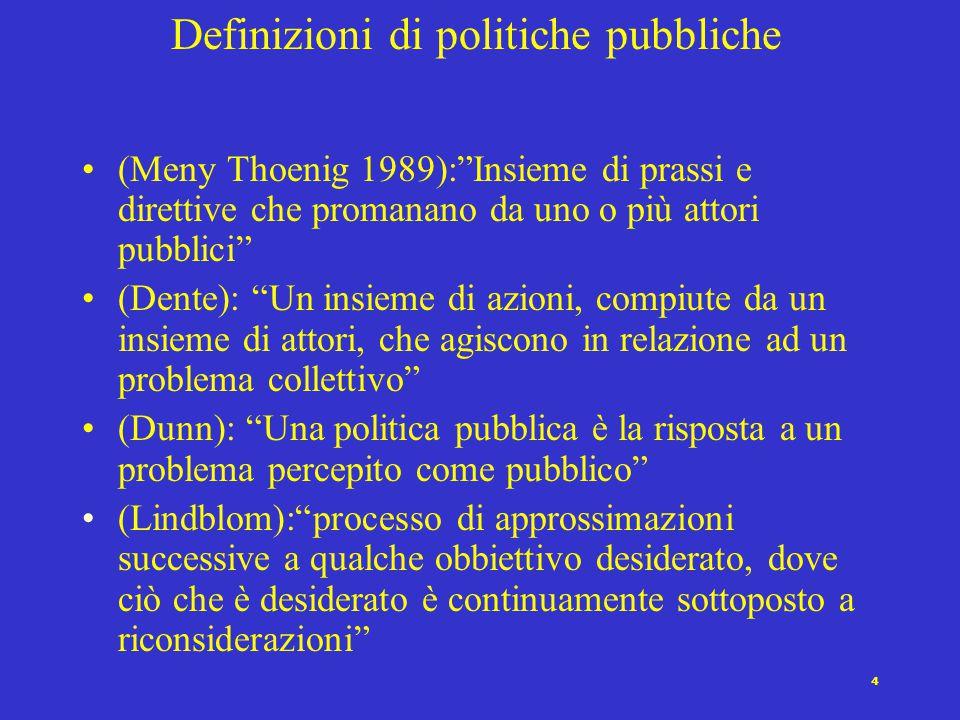 """4 Definizioni di politiche pubbliche (Meny Thoenig 1989):""""Insieme di prassi e direttive che promanano da uno o più attori pubblici"""" (Dente): """"Un insie"""