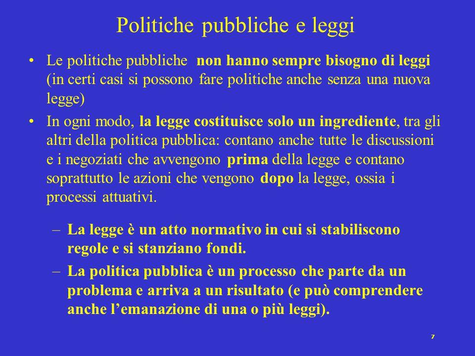 7 Politiche pubbliche e leggi Le politiche pubbliche non hanno sempre bisogno di leggi (in certi casi si possono fare politiche anche senza una nuova