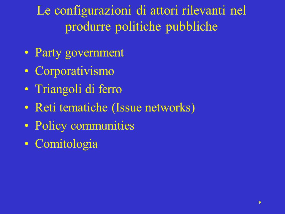 9 Le configurazioni di attori rilevanti nel produrre politiche pubbliche Party government Corporativismo Triangoli di ferro Reti tematiche (Issue networks) Policy communities Comitologia