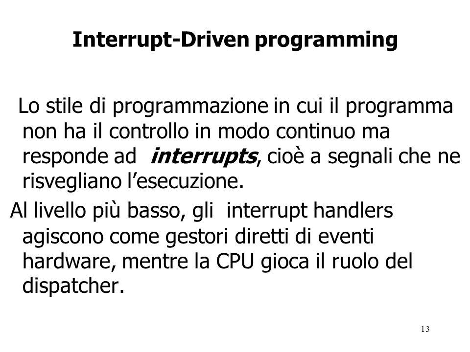 13 Interrupt-Driven programming Lo stile di programmazione in cui il programma non ha il controllo in modo continuo ma responde ad interrupts, cioè a segnali che ne risvegliano l'esecuzione.