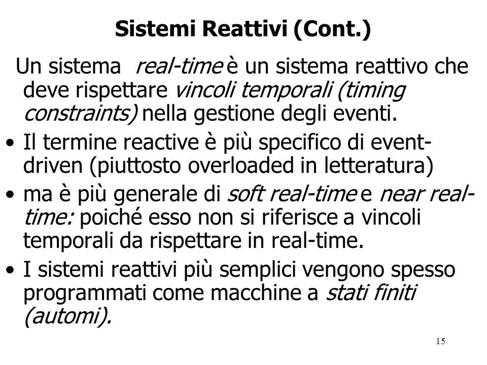15 Sistemi Reattivi (Cont.) Un sistema real-time è un sistema reattivo che deve rispettare vincoli temporali (timing constraints) nella gestione degli eventi.
