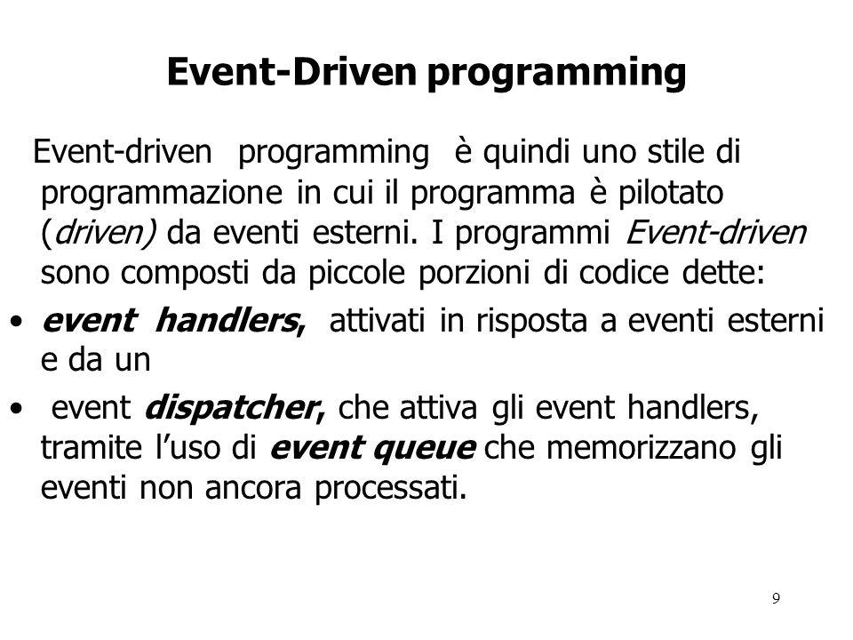 9 Event-Driven programming Event-driven programming è quindi uno stile di programmazione in cui il programma è pilotato (driven) da eventi esterni.