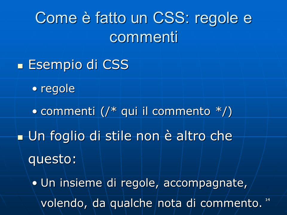 14 Come è fatto un CSS: regole e commenti Esempio di CSS Esempio di CSS regoleregole commenti (/* qui il commento */)commenti (/* qui il commento */) Un foglio di stile non è altro che questo: Un foglio di stile non è altro che questo: Un insieme di regole, accompagnate, volendo, da qualche nota di commento.Un insieme di regole, accompagnate, volendo, da qualche nota di commento.