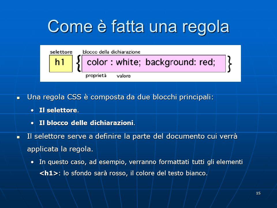 15 Come è fatta una regola Una regola CSS è composta da due blocchi principali: Una regola CSS è composta da due blocchi principali: Il selettore.Il selettore.
