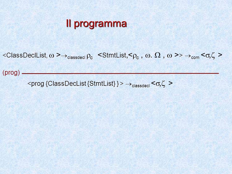  classdecl  c  com ,   classdecl  c >  com  classdecl ,   classdecl (prog) Il programma