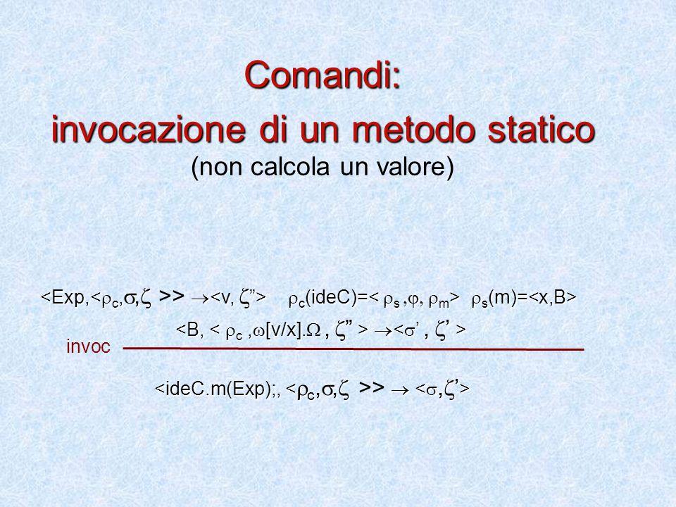  c (ideC)=  s (m)= >   c (ideC)=  s (m)=   >  Comandi: invocazione di un metodo statico invocazione di un metodo statico (non calcola un valore) invoc