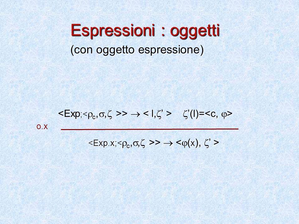 >   '(l)= >  Espressioni : oggetti (con oggetto espressione) o.x