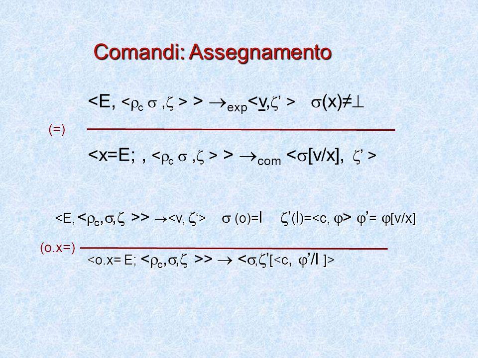 >  exp  (x)≠  >  com  (o)= l  ' ( l )=  ' =  [v/x] >   (o)= l  ' ( l )=  ' =  [v/x] >  (o.x=) Comandi: Assegnamento (=)