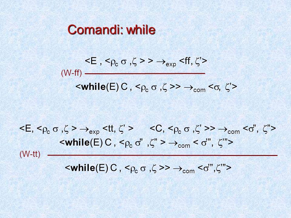  exp >  exp  com >  com  com  exp >  com  com  com >  com (W-ff) (W-tt) Comandi: while